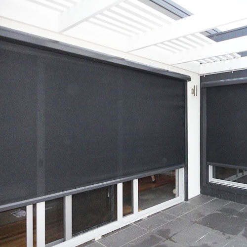 Exterior Roller Blinds in covered patio area / conservatory