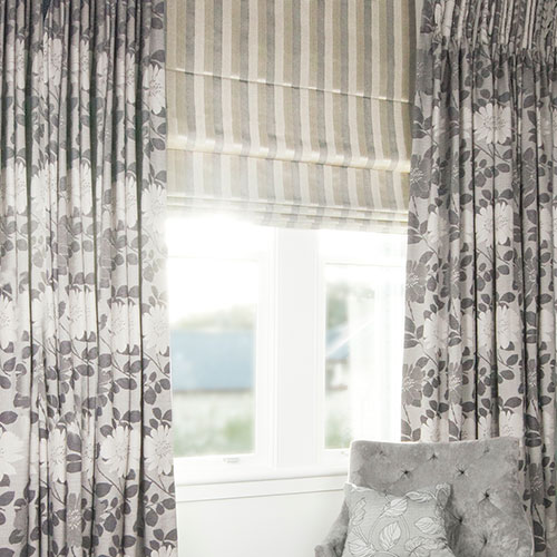 Blockout Drapes and Roman Blind